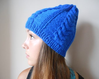 Hand Knit Cable Slouchy Beanie Hat Acrylic Cobalt