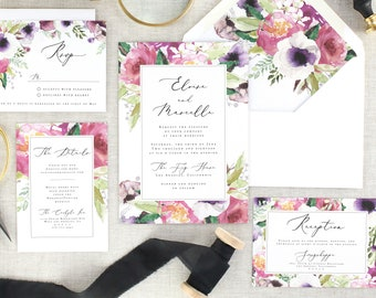 Watercolor Wedding Invitation Floral Invites Wedding - Pink Wedding Invitation Set Printed - Printed Wedding Invitation Suite - Set of 10