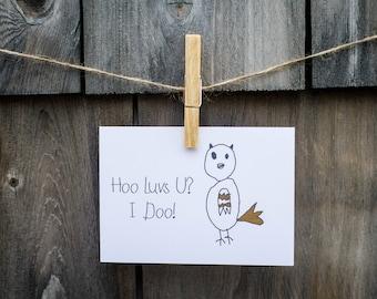 Hoo Luvs U - Greeting Card