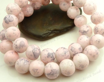Light Pink and Gray Swirled Round Glass Beads - 10mm Smooth Mottled Beads, Shiny Colorful Bohemian Beads - 20pcs - BL24