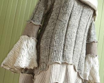 Tan and Cream Cowl  Collar Tunic Dress, Size Medium (10-14)