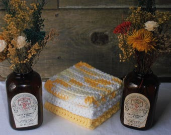 Crochet Dish Cloths, Crochet Dish Rags, Crochet Wash Cloths, 100% Cotton, Farmhouse Kitchen, Farmhouse Bath, Set of 3, Yellows and White