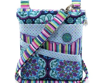 Small Crossbody Bag Purple Turquoise Blue Pink