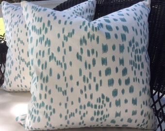Brunschwig and Fils Pillow Cover in Les Touches Aqua and Cream Cotton, Cream Woven Backing
