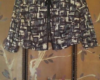 50s Black patterned shrug / Bolero cardigan