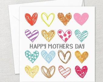 Happy Mothers Day Card Mum Mom Mommy Mummy Mother Love Hearts Craft Patterns Bespoke Unique Handmade