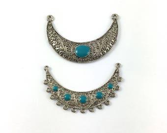 Set of 2 support pendants in silver, blue enamel