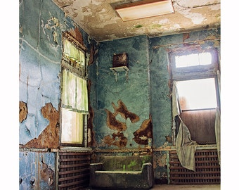 Dark Decay Photography, Abandoned Forgotten Photograph, Moody Architecture, Blue and Brown Decor, Masculine Gift for Him, Window Photography