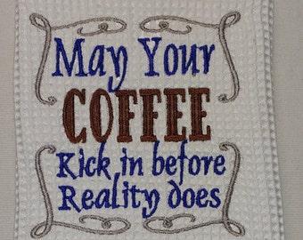 Coffee Tea Towel/Tea Towel/Kitchen Towel/Coffee Lovers Kitchen Towel