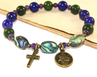 Saint Anthony Bracelet, Paua Shell & Gemstone Beads, Christian Jewelry