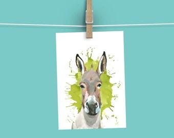 Donkey card, blank card , animal cards, farm animals