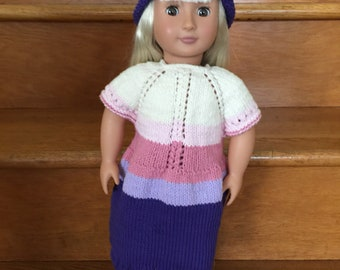 American Girl Spring dress and matching hat