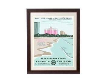 Edgewater (Chicago Neighborhood) WPA-Inspired Poster