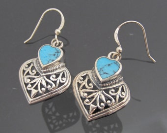 Vintage Sterling Silver Inlay Turquoise Filigree Dangle Earrings