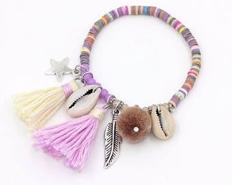 Summer boho bracelet / / / colorful polymer clay beads / cowry shells / tassels / silver charm