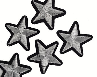 5 PCS Iron On Silver Embroidered STARS Patch Appliques for DIY Fashion Crafts
