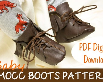 Leather Moccasin Boots Sewing Pattern - Baby Shoe Pattern - Instant PDF digital download