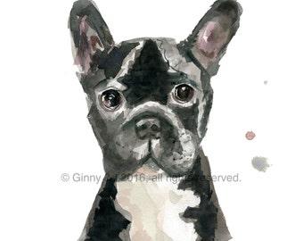 French Bulldog, Printable Art, Printable Watercolour, Watercolour, Frenchie, Art, French Bulldog, Animal Art