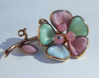 Magnificent Poured Glass Multi-Color Flower Pin Brooch - Unsigned Beauty