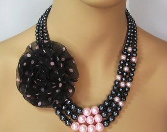Pink & Black Retro Pearl Necklace with Pink Polka Dot Flower - Multi-Strand - Matching Earrings, Kentucky Derby