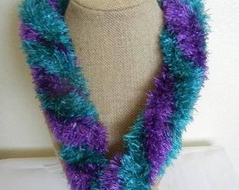 Teal Purple Twisted Eyelash Lei