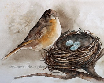 PRINT mothers day gift for mom nest painting nest art print nest PRINT bird wall hanging Bird wall art Watercolor for her robin egg