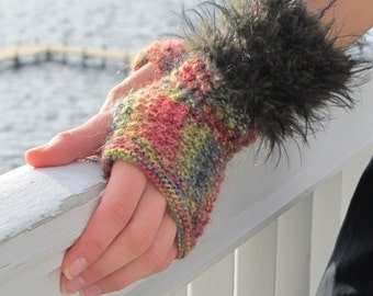 Eva, textured fingerless mitts edged with fur