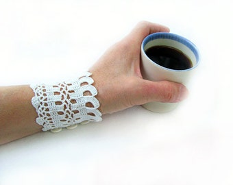 PDF Tutorial  Crochet Lace Wrist Cuffs,  Fingerless Gloves  Pattern,   Wedding  Lace Gloves