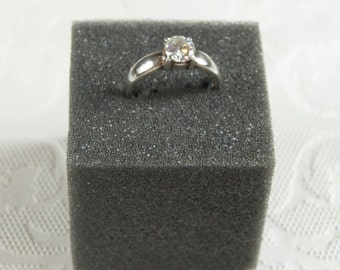 SALE WAS 55 Sterling Silver CZ Solitaire Ring