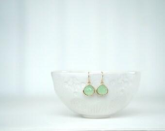 Mint Green and Gold Teardrop Earrings   Bridesmaid Earrings   Wedding Jewelry   EGG9, EGS9