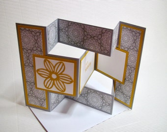 Happy birthday card handmade stamped blank fancy fold feminine grey yellow stationery greeting card home living