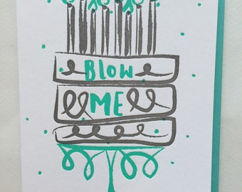 Birthday card, Funny Birthday card, Birthday card for him, Birthday card for her, Letterpress Birthday, Naughty Birthday / DeLuce Design