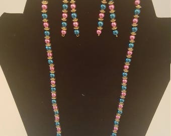 Pink and Teal Pearl Necklace and Earrings