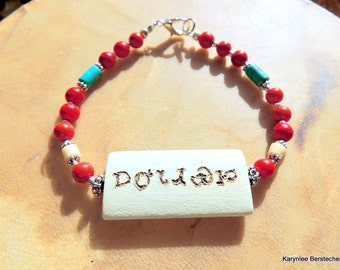 Cherokee Language Remembrance Bracelet, Carved Wood, Turquoise and Red Jewelry