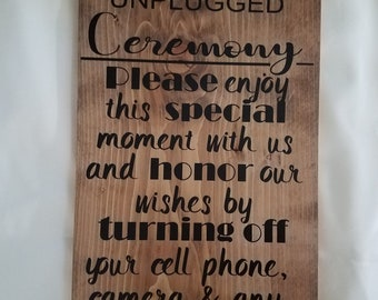 UNPLUGGED Ceremony, Turning off your cell phone, camera an any other device