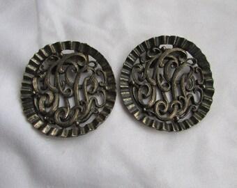 Vintage Metal Shoe Clips Fur Clips - Fancy Swirls - Modern large shoeclips  dress clips