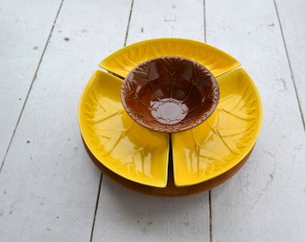 1950s California Pottery Chip and Dip Set with Lazy Susan
