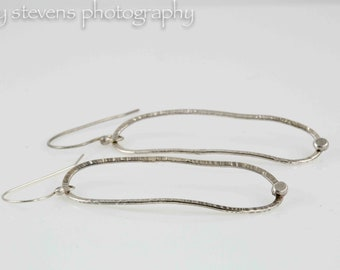 Handmade Sterling Silver Dangle Earrings Textured and Soldered