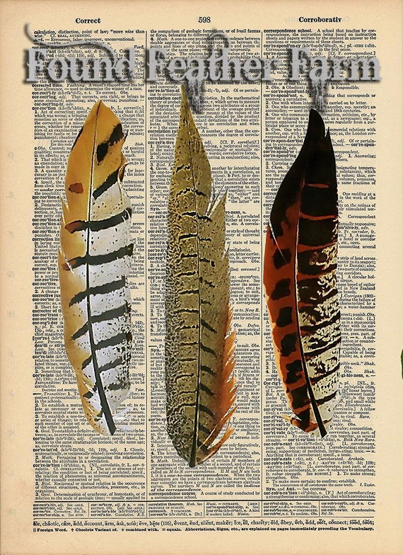 "Vintage Antique Dictionary Page with Antique Print ""Three Feathers"""