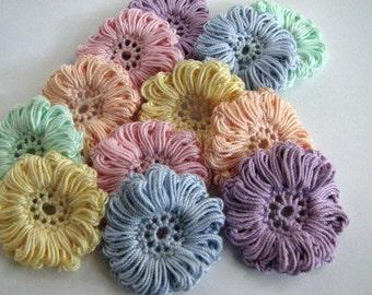 Crochet Flower Appliques - Pretty Pastel - 12 Total