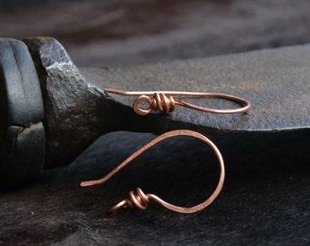Copper ear hooks, handmade ear hooks, copper ear wire, simple handmade ear hooks, made in Italy, handmade earrings, handmade jewelry supply