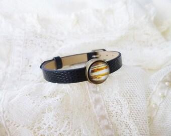 Jupiter Bracelet, Jupiter, Planet Bracelet, Leather Planet Bracelet, Solar System Bracelet, Planet Jewelry, Solar System Jewelry