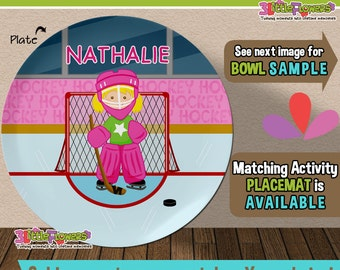 Hockey Player Plate and Bowl Set - Personalized Plastic Children Plate Cereal Bowl - Choose HAIR SKIN color - Hockey Goalie Plate and Bowl