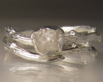 White Raw Diamond  Ring, Raw Diamond Engagement Ring, Rough Diamond Engagement Set