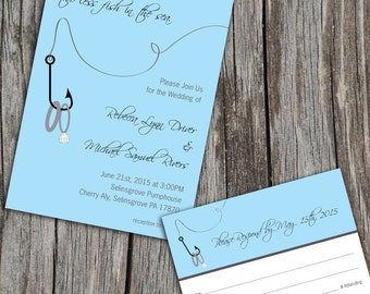 Fish in the Sea Printable Wedding Invitation and RSVP Reply Card, Pick Your Colors, DIY Digital Files