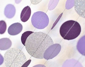 Purple & Silver 10ft Paper Garland, Birthday Party Decor, Wedding Shower Decor, Nursery Decor