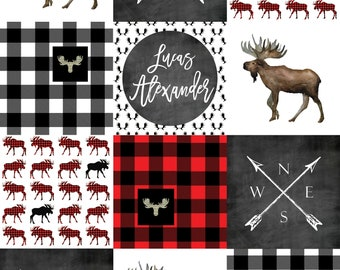 """Minky Lovey Personalized/Moose and Plaid Lovey/ Woodland Baby Gift/Minky Baby Lovey/Minky Moose Blanket/Security Blanket/18"""" x 24"""""""