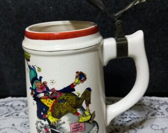 DRINKING STEIN  with a Comical Personality from the Sanitation Dept drinking   PreOwned and in Excellent Condition
