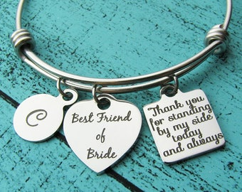 bride best friend gift, bridesmaid gift, best friend of bride gift, best friend bracelet, wedding gift for best friend, Thank you gift