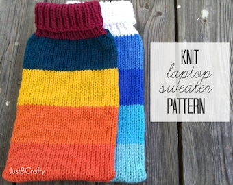 Knit Laptop Sweater Pattern, Knit MacBook Air Sweater, Knit Laptop Cozy, Knit MacBook Sleeve, Knit Laptop Cozy Pattern - PDF File DOWNLOAD